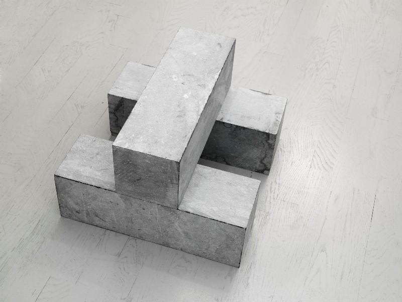 1 BLOCK ON 2 BLOCKS, 2001, belgian blue limestone, three blocks on floor, cm 30 x 45 x 45