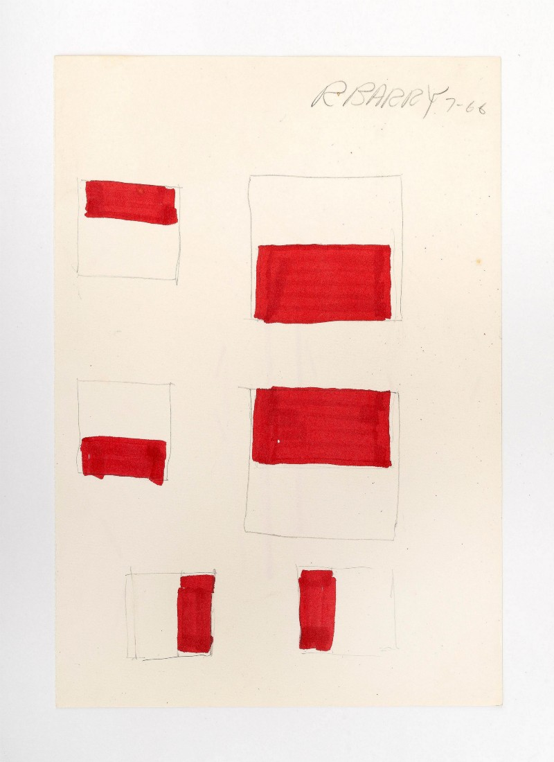 Untitled, 1966, pencil and red ink on paper, cm 28 x 19 (unframed), cm 42 x 34 x 4 (framed)
