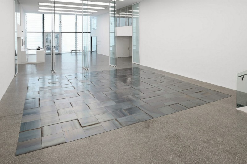15 x 15 Napoli Square, 2010, Hot-rolled steel, 225 units on floor, cm 0,5 x 50 x 50 (each), cm 0,5 x 750 x 750 (overall dimensions)