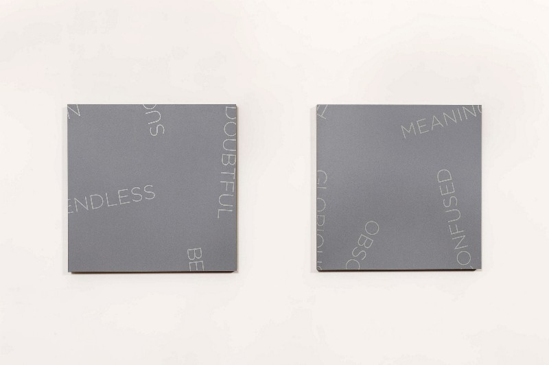 Untitled, 2018, diptych, acrylic on canvas, cm 91,44 x 91,44 each, cm 91,44 x 228 overall dimensions