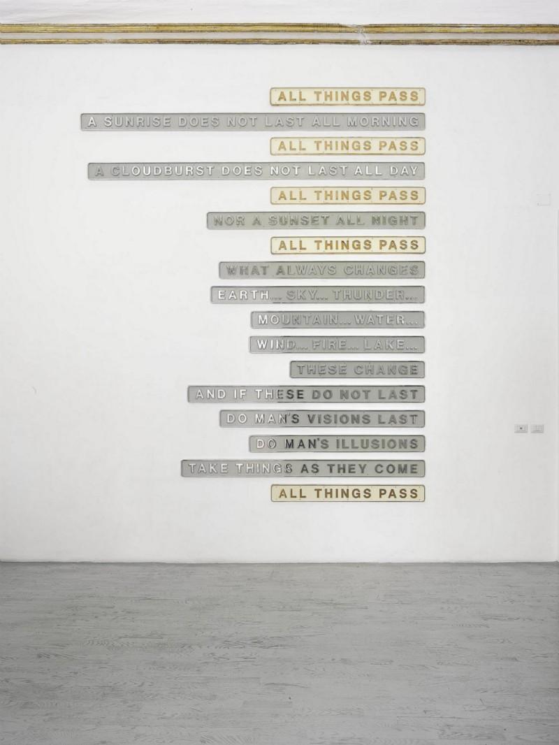 The Last Line, 2013, 17 bronze and aluminum plates and paint, various dimensions, unique