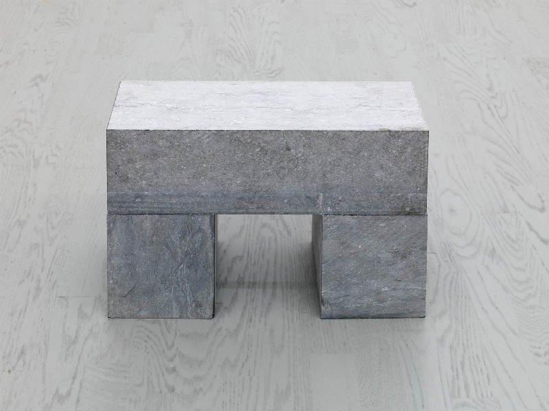 1 BLOCK ON 2 CUBES, 2001, belgian blue limestone, one block, two cubes on floor, cm 35 x 45 x 15