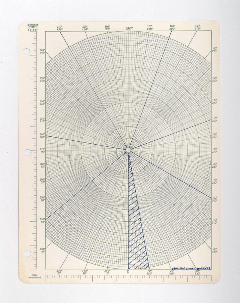 350° x 50°, 1968, ink on graph paper, cm 28 x 21,5 (unframed), cm 39 x 32 x 4 (framed)