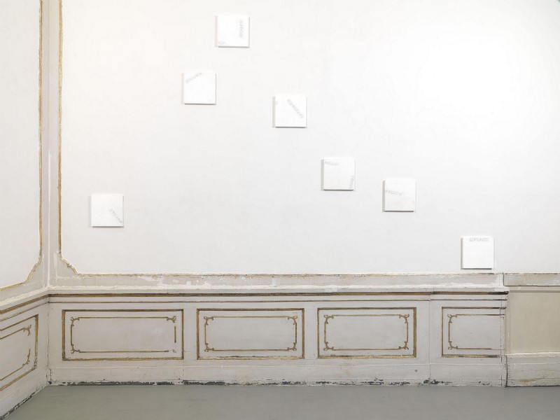 Untitled, 2016, acrylic on wood, 7 elements, cm 30,6 x 30,3 each, overall dimensions variable