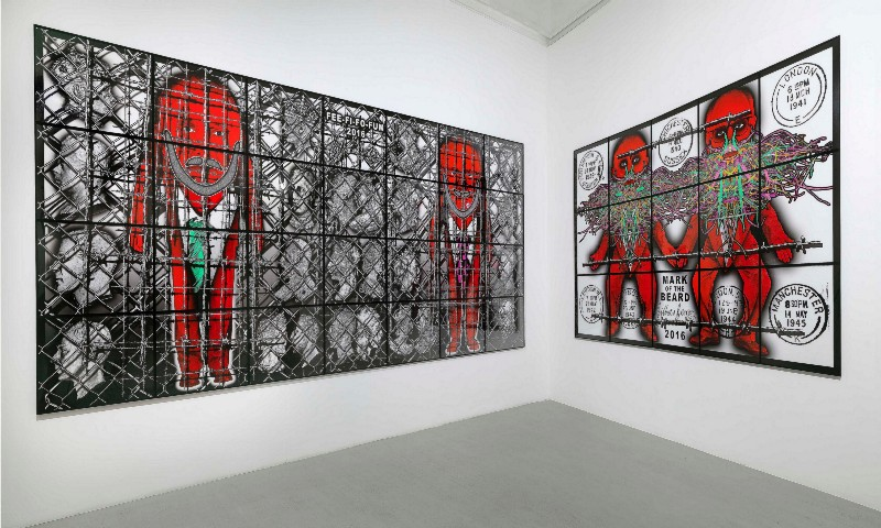 Gilbert & George, The Beard Pictures, Partial view of the exhibition, December 2017